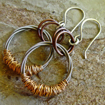 Upcycled Guitar String Earrings // Salvaged Guitar String Mixed Metal Earrings // Recycled Guitar String Wire Wrapped Earrings
