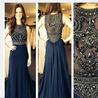 Luxury Beaded High Neck Long Navy Blue Prom Dresses Real Sample Fashion 2015 Sexy Red Hot Sale Cheap Formal Party Dresses KP3-in Prom Dresses from Apparel & Accessories on Aliexpress.com | Alibaba Group
