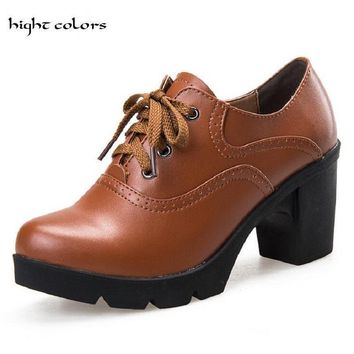 Hot Selling Vintage Lace Up Oxford Shoes For Women Fashion British Style Round Toe Wom