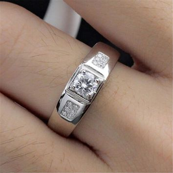 fashion casual jewelry unique mens silver ring with diamond adjustment best gift one size rings 79 2