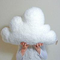 WHITE FLUFFY CLOUD Pillow Cushion Faux Sheepskin Fleece Dreamy, soft and fluffy - Baby Nursery Kids Bedroom Home Decoration