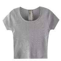 Grey Scoop Neckline Zip Up Crop Top