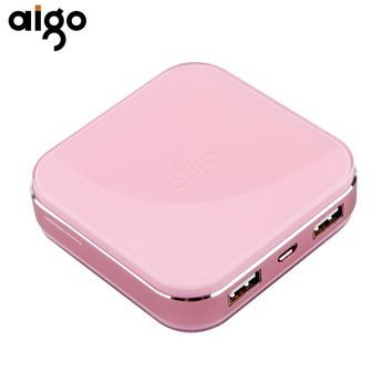 Aigo Power Bank 10000mAh Lovely Battery Ultra-Compact Smallest Charger Dual USB Ports Powerbank External Mobile Portable Battery