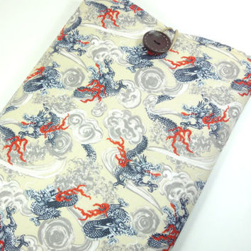 "Gift For Him, Kimono Macbook Air 11"" Cover, Unique Gift Idea for him, Padded Laptop Sleeve,Japanese Cotton Fabric Dragons Vanilla"