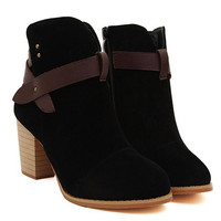 British Style Short Boots With Chunky Heel and Splicing Design