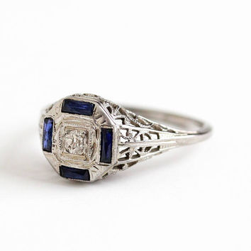 Antique 14k White Gold 1/10 CT Diamond Created Blue Sapphire Ring - Vintage Art Deco 1930s Size 5 3/4 Filigree Engagement Fine Jewelry