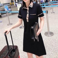 """Burberry"" Woman Casual Lattice Muticolor Fashion Letter Printing Loose Short Sleeve POLO Shirt Tops Skirt"