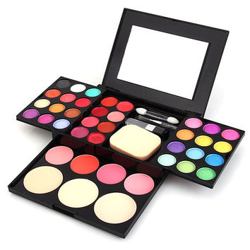ADS Make-up Kit (24 Colors Eye Shadow + 4 Colors Blush + 3 Colors Powder + 8 Colors Lip Gloss)