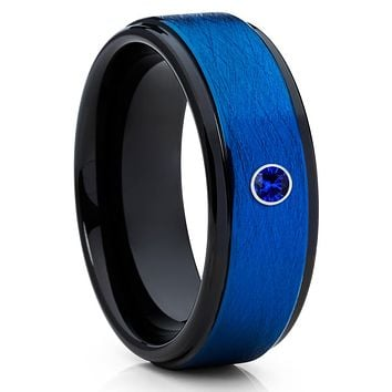 Blue Tungsten - Tungsten Wedding Band - Men & Women - Blue Sapphire