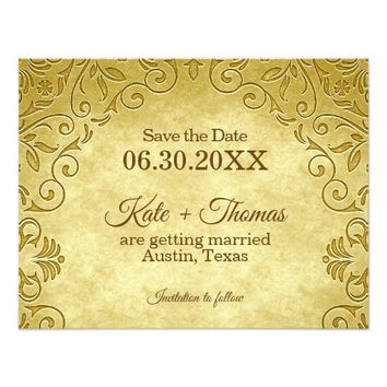 Wedding Save the Date | Antique Golden Flourish Card