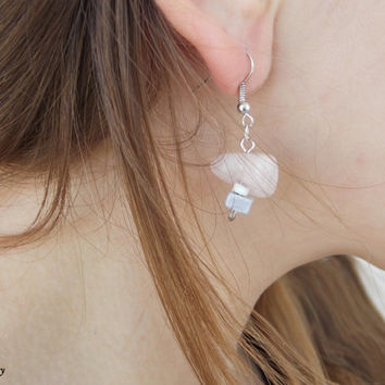 Dangle earrings - Pink earrings - Glass earrings - Elegant earrings - Formal earrings - Simple earrings - boho earrings - bohemian - gift