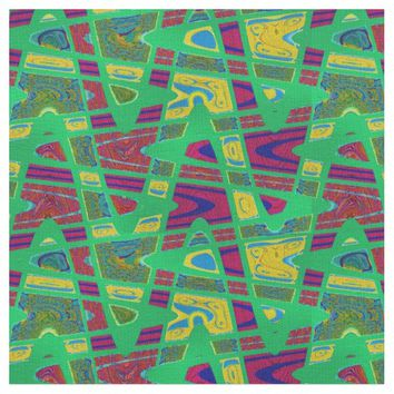 Colorful Green Red Pop Art Pattern Fabric