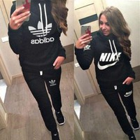 GK7XP Nike Casual Hoodie Top Sweater Pants Trousers Set Adidas Two-piece Sportswear