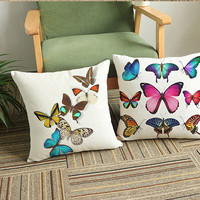 New colorful butterfly printed cushion 45*45cm square pillow home sofa office decorative pillows