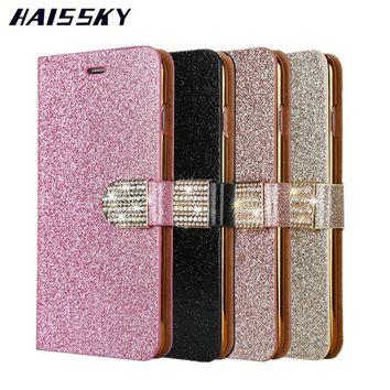 HAISSKY Luxury Glitter Bling Case For iPhone 7 Cases 7 Plus iPhone 6 6S 6Plus Plus Leather Wallet Flip Cover Phone Accessories