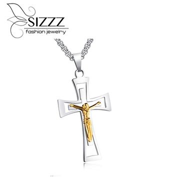 SIZZZ European and American jewelry Cross gold plating titanium steel retro pendant for men