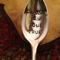 Hand Stamped Silver Spoon, Valentine's Day Gift, Girlfriend Gift, Boyfriend Gift, Stamped Vintage Spoon, Daughter Gift, Engraved Spoon