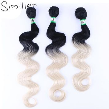 Similler Long Body Wave Black T 613 Hair Weaving Ombre Synthetic Hairpiece Bundles Weft 210g