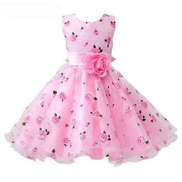 Floral Print Wide Sash Pleated Ball Gown Kids Party Dresses