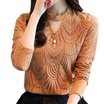 Women Lace Blouse Long Sleeve Fashion Blouse