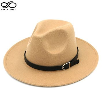 LUCKYLIANJI Solid Color Men Women Wool Felt Panama Hat Fedora Caps Leather Band (One Size:58cm-US 7 1/4)