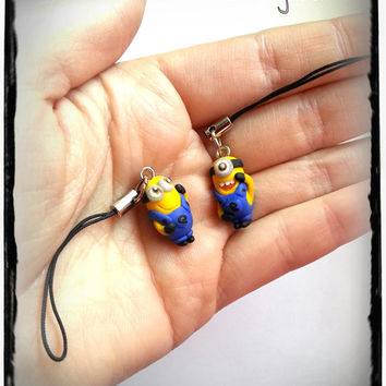 Minion phone / cell strap charm chibi in polymer clay inspired from Gru Despicable Me movie Best friends
