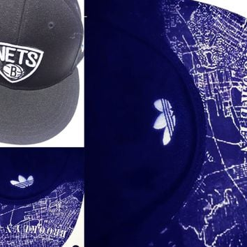 Brooklyn Nets Authentic Adidas Fitted or New Era Snapback with Custom Brooklyn Map Bill