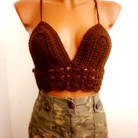Brown Summer Festival Top Corset Hippie Bustier Sexy Crochet Bra Halter Top Fringes Crop Top Tank Art Bikini Top Bandeau Top Green Retro
