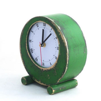 Desk Clock Circle Green, 7 inch, Table Clock Green, Rustic Home Decor, Vintage Pattern, Table Wood Clock