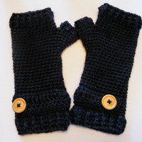 Women's crochet fingerless gloves charcoal gray adorned with wooden button Avaiable in preteen/teen, women's small, and women's large Winter
