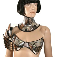 Customized  Rave Bra Cybergoth Bra Lady Gaga Futuristic Clothing Burning Man Fantasy Burlesque Pin Up Divamp Couture