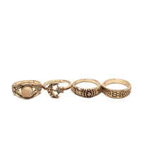 Boho Bliss 4pc Stacked Midi Ring Set
