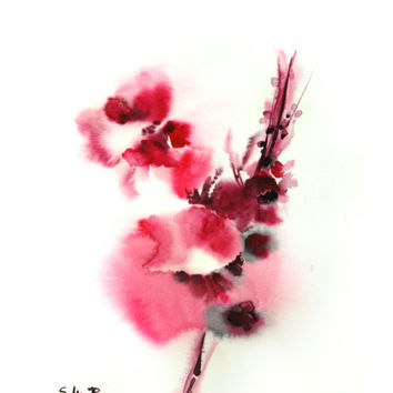 Original Watercolor Abstract Flowers Painting Art Print. Minimalist Abstract Flower Painting. Magenta Pink.