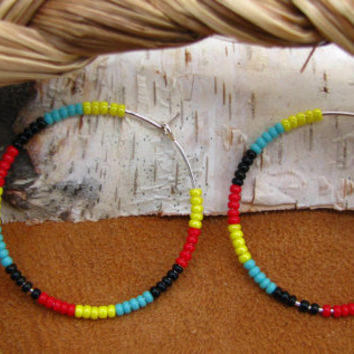 Simple Beaded Hoop Earrings, Native American Style Yellow Red Black Turquoise
