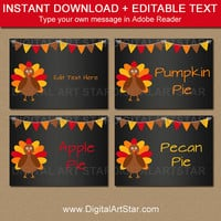 Thanksgiving Food Labels - EDITABLE Thanksgiving Buffet Cards - Printable Thanksgiving Place Cards - Table Tents - Food Tents - Fall Labels