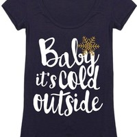 Baby It's Cold Outside Christmas Holiday Graphic T-Shirt (Navy)