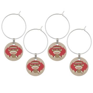 Adorable Rustic Custom Sock Monkey Party Wine Charms