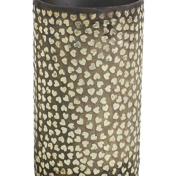 "Metal Cylinder Vase with Gold Hearts - 7.25"" Tall x 4"" Wide"