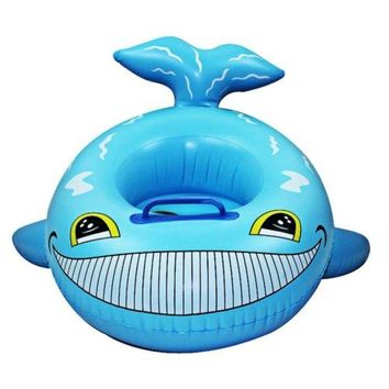 Inflatable Cartoon Children Water Taxis Toy Swim Ring with Handle    blue fish