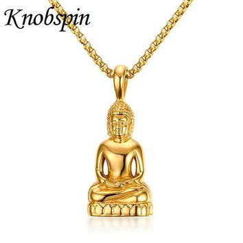 Fashion Mens Necklaces Gold color Stainless Steel Buddha Pendant Necklace for Men Vintage Amulet Jewelry