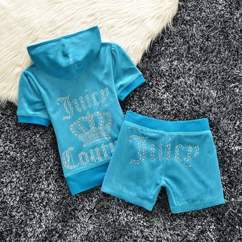 Juicy Couture Studded Logo Crown Velour Tracksuit 608 2pcs Women Suits Blue