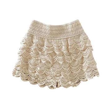 Plus Size 2017 New Summer Fashion Womens Shorts Sweet Style Lace Crochet Elastic Waist Slim Short Pants