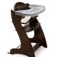High Chair Baby Furniture Wooden 2 Feeding Trays Extended Use Through Adulthood