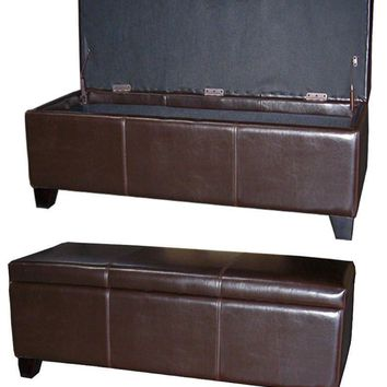 "Luisa Bonded Leather Storage Ottoman 48"", Brown"