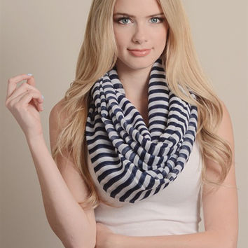 Striped Infinity Scarf-Navy/White