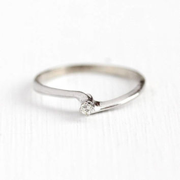 Estate Diamond Ring - Vintage 14k White Gold Single Cut Dainty Bypass - Size 5 3/4 Raised Solitaire Promise Engagement Stacking Fine Jewelry