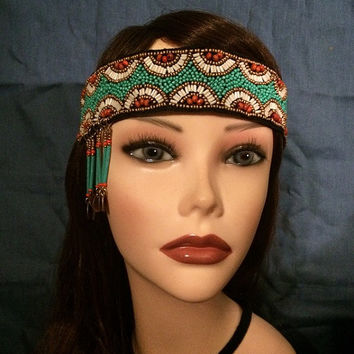 1920's style flapper headband native american beaded headpiece head piece band 20's 1920s adjustable tassel coins boho green gold turquoise
