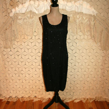 Sleeveless Beaded Black Cocktail Dress Midi Sheath Vintage Holiday Dress New Years Eve Laurence Kazar Size 12 Size 14 Large Womens Clothing