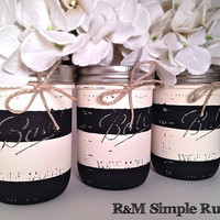 Hand Painted Striped Mason Jar Centerpiece, housewares