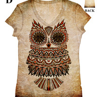 woman  PLUS SIZE Owl all-over print top, t shirt and tank (33) xxs - plus size